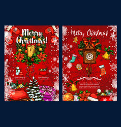 Christmas wreath with gift winter holidays card vector