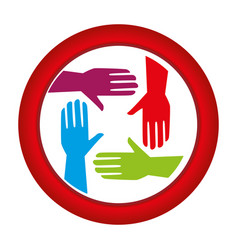 circular frame with colorful hands teamwork icon vector image