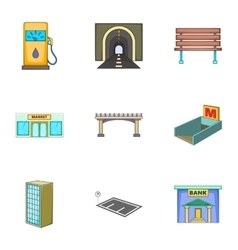 City landscape icons set cartoon style vector image vector image