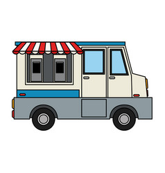 Color image cartoon food mobile truck vector