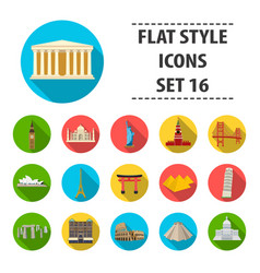 Countries set icons in flat style big collection vector