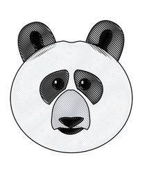 Cute face panda bear animal cartoon vector