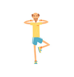 Elderly male standing on one leg and raising arms vector