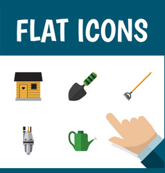 Flat icon dacha set of pump stabling tool and vector