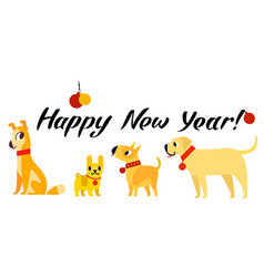 funny yellow dogs symbol of year 2018 flat style vector image vector image