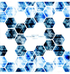 Geometric technological digital blue hexagon vector