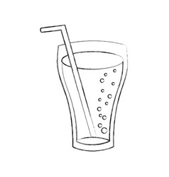 Glass cup cola drink bubbles refresment liquid vector