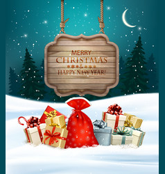 Holiday Christmas background with gift boxes and vector image vector image