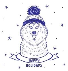 husky holiday vector image