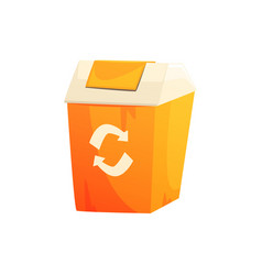 Orange garbage can with recycling sign waste vector