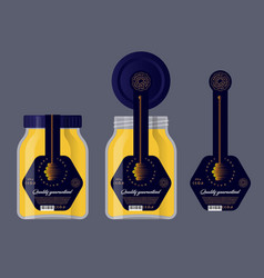 Packaging honey black honey dipper label vector