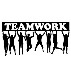 Teamwork concept with men and women jumping vector image