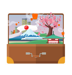 Travel to japan flat style concept vector