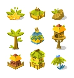 Video game indian village design collection of vector