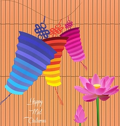 Mid autumn lantern festival background with lotus vector