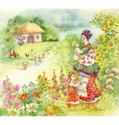 Watercolor countryside landscape with little boy vector