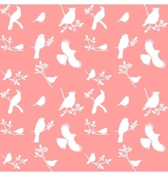 Collection of bird silhouettes on a pink vector