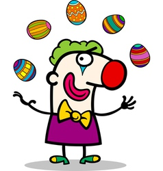 Cartoon clown juggling easter eggs vector