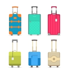 Travel colorful suitcase isolated set vector image