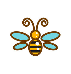 Honeybee line icon isolated vector