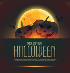 Pumpkins of halloween background poster vector