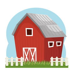 Building stable farm isolated icon vector