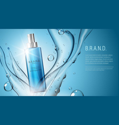 3d realistic cosmetic product spray bottle package vector image vector image