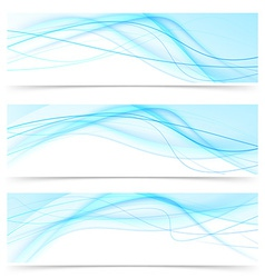 Modern blue wave speed line banners set vector