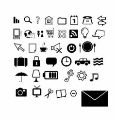 Set of 40 black and white icons vector