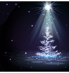 The magic christmas tree in spotlight vector