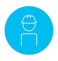 Worker wearing hard hat line icon vector