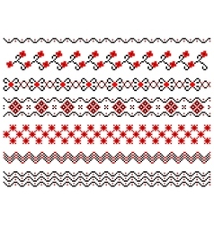 Set of embroidered lines vector