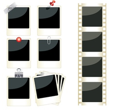Instant photo frames set vector
