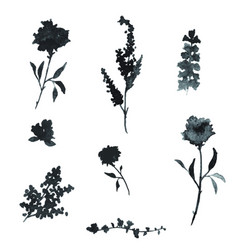 Black watercolor floral elements vector