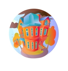 Bright house in the autumn weather cottage vector