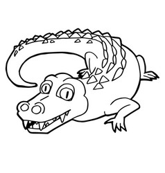cartoon cute crocodile coloring page vector image