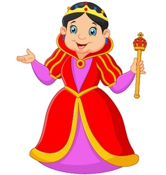 Cartoon queen holding scepter vector image