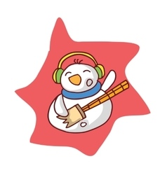 Character snowman with headphone collection vector