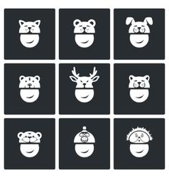 Christmas hats icons set vector