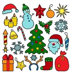 Christmas patch set vector