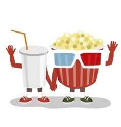Cinema pop corn and cola character friends vector