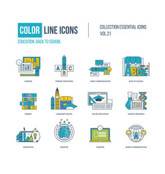Color icons primary education back to school vector