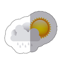 Color sticker of cloud with rain and sun vector