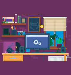 creative office interior in loft spacemodern vector image vector image