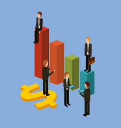 Different businessman standing on bar charts their vector