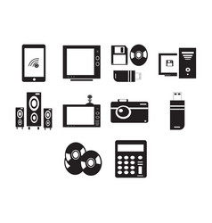 Flat black technology icon set vector