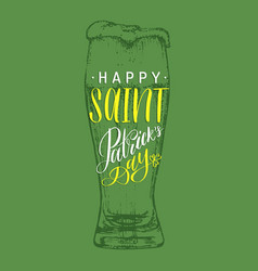 happy saint patricks day hand lettering vector image