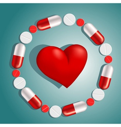 Heart surrounded by pills vector