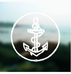 Ink hand drawn anchor on blurred sea background vector