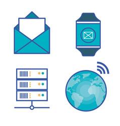 internet technology set flat icons vector image